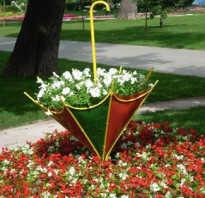 Идеи красивых клумб из зонта своими руками